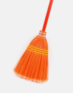 Premier Lobby Plastic Broom - Orange - Made in USA